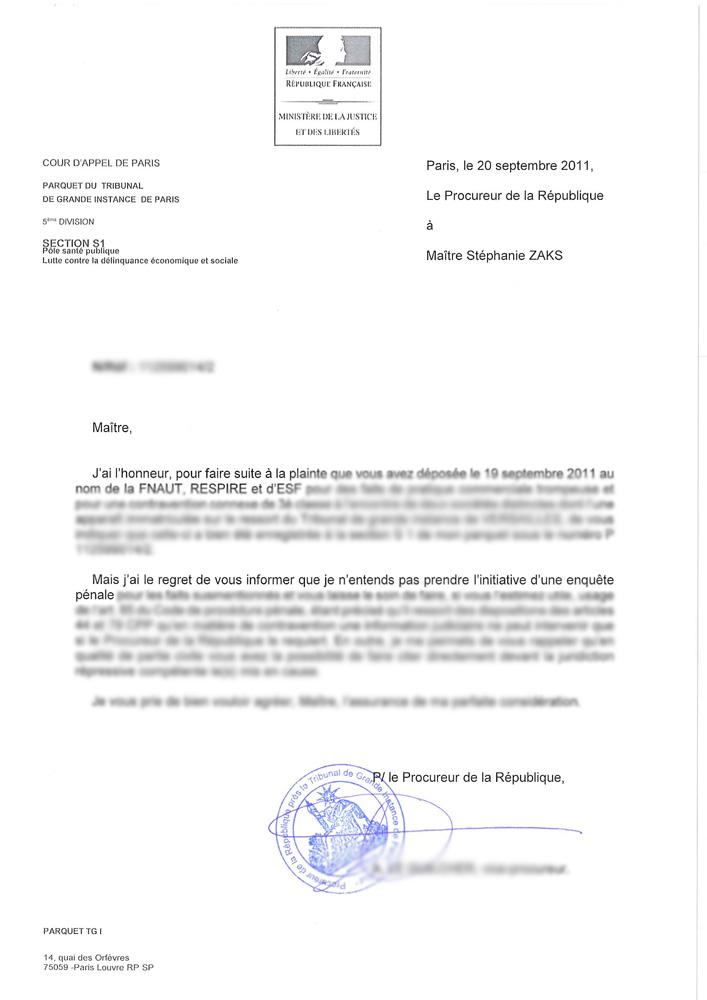 lettre pour plainte