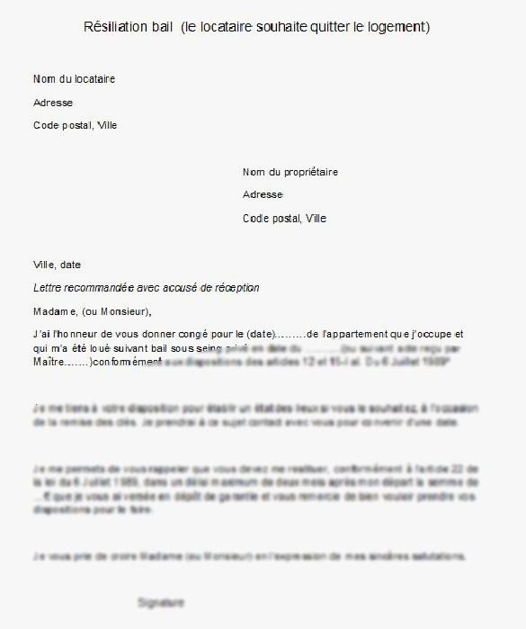 lettre pour preavis logement