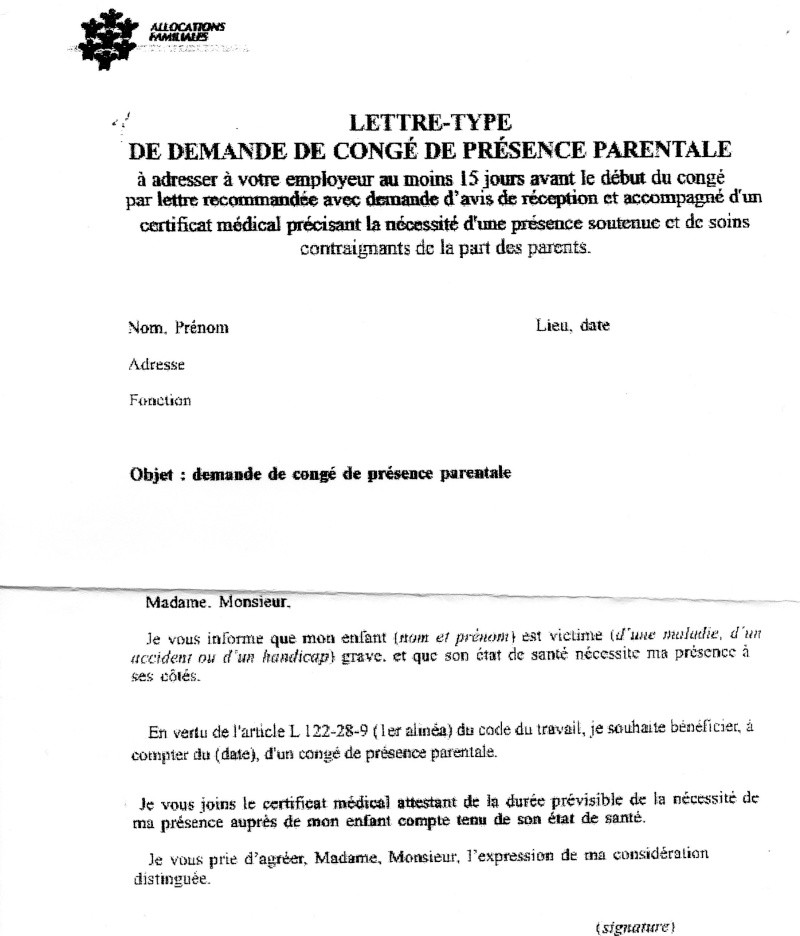 lettre pour prolonger son conge parental