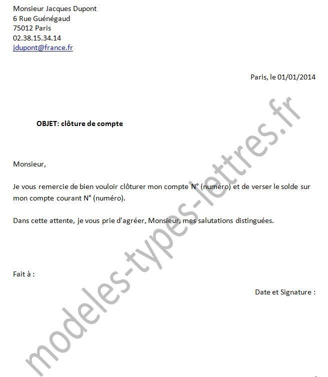 lettre pour resilier un compte bancaire