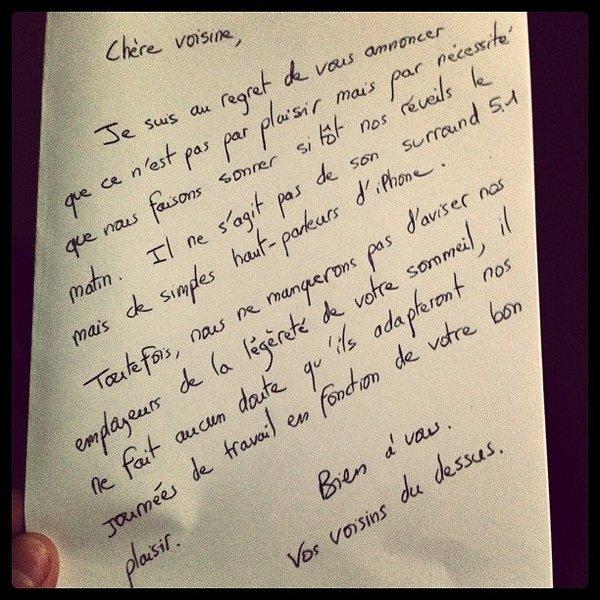 lettre pour s'excuser du bruit