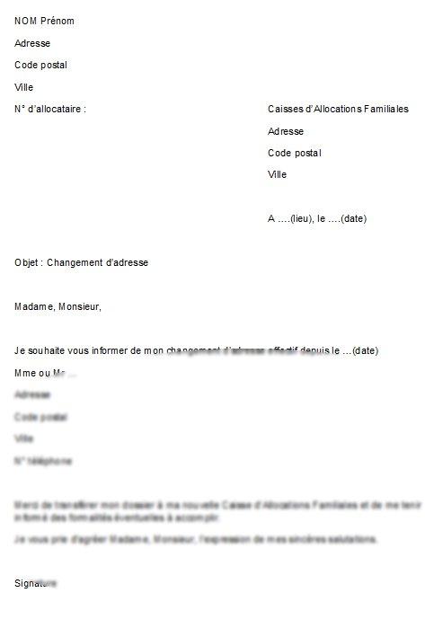 lettre pour un changement d'adresse