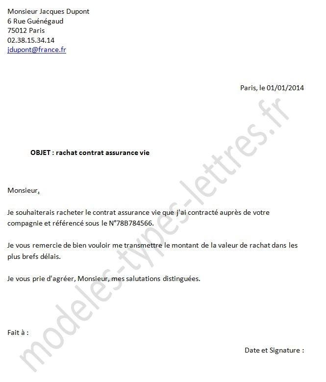 lettre pour une assurance