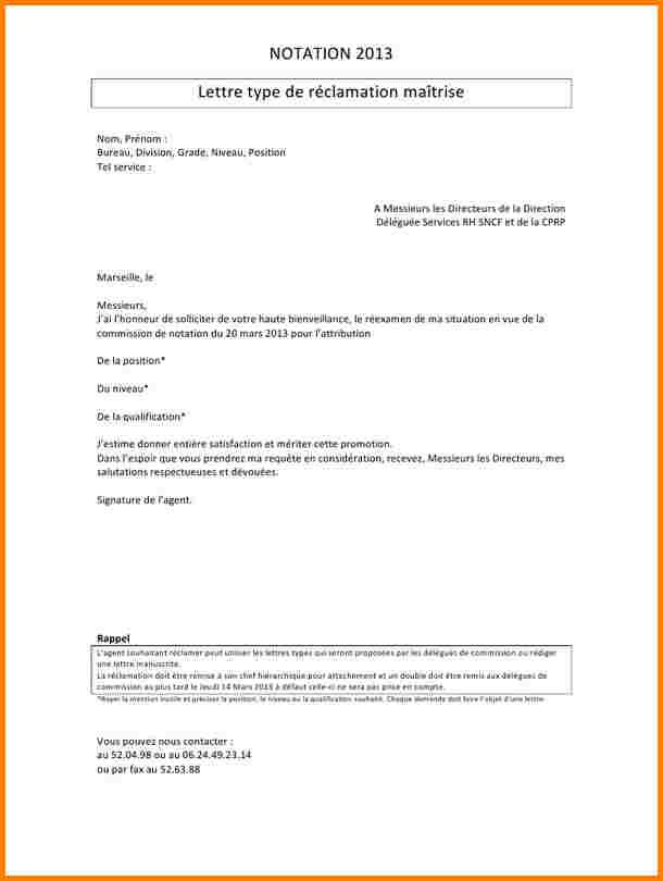 lettre pour une reclamation
