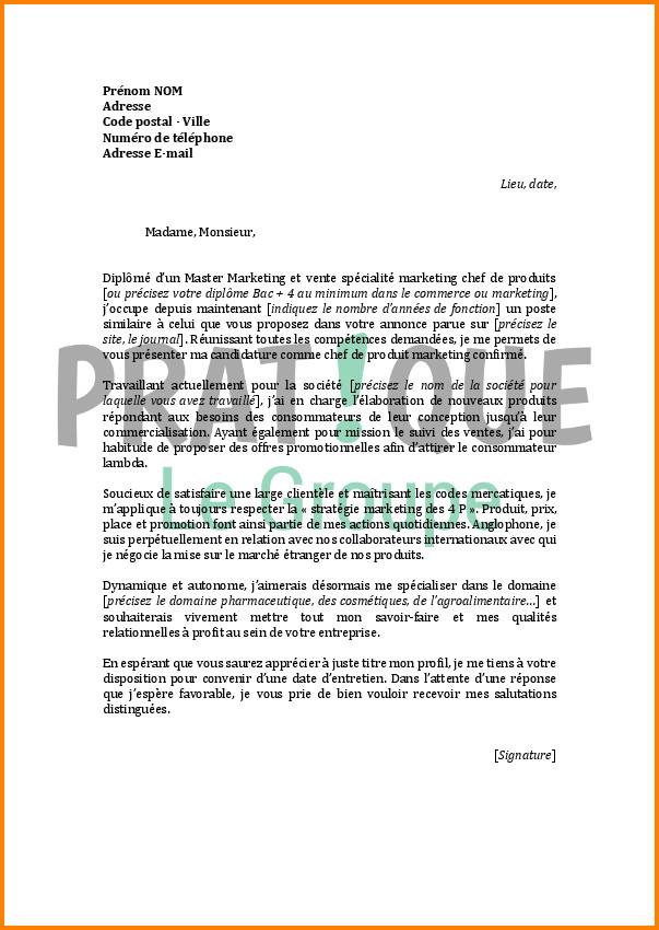 lettre pour vendre produit