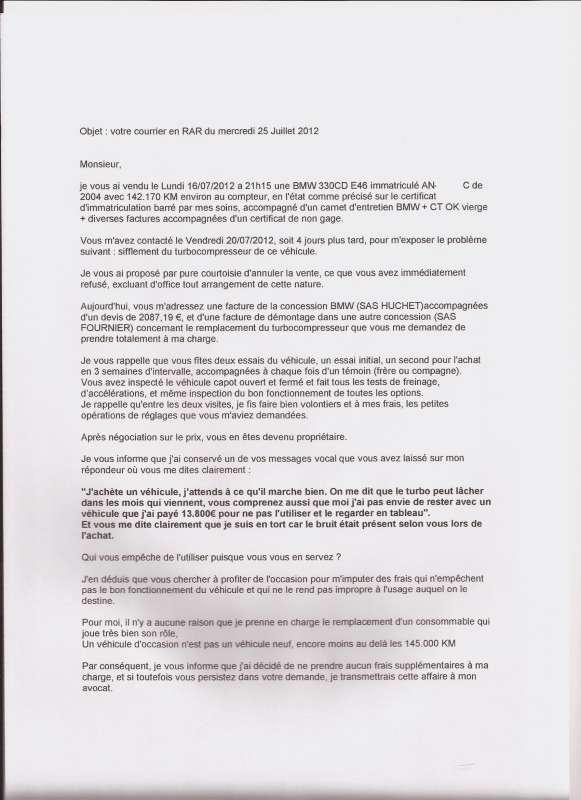 lettre pour vice cache