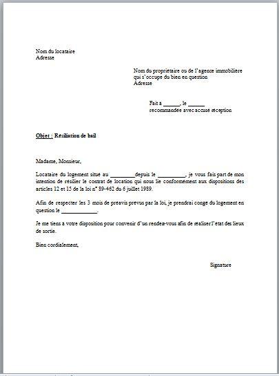 lettre preavis 3 mois