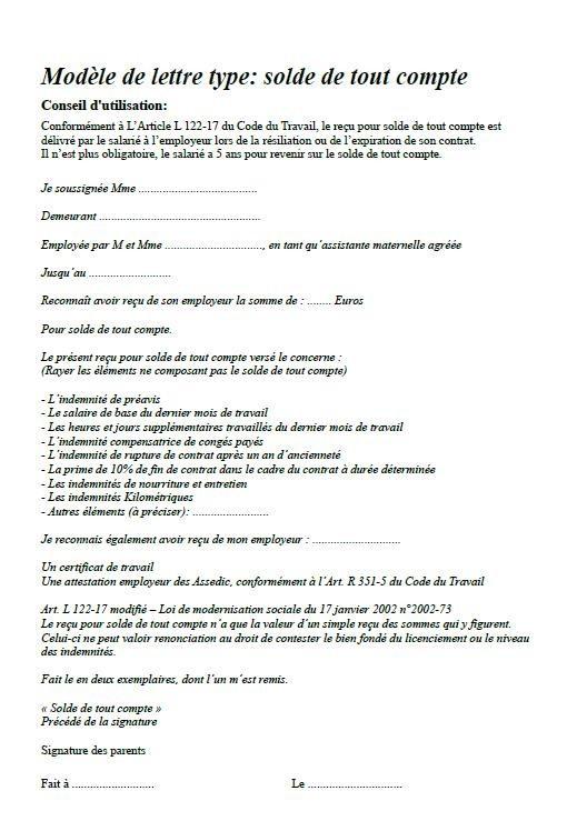 lettre preavis nourrice agree