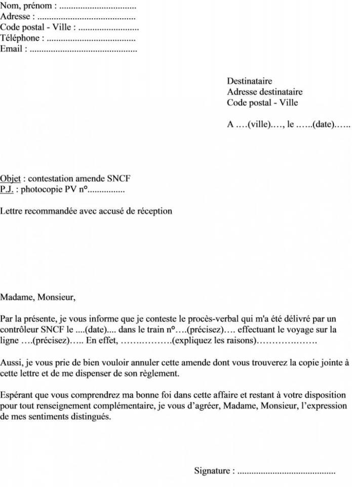lettre reclamation pv stationnement