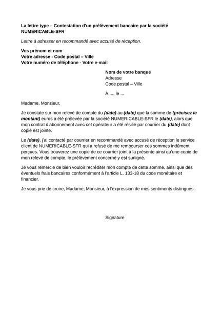 lettre reclamation sfr