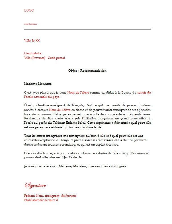 lettre recommandation locataire