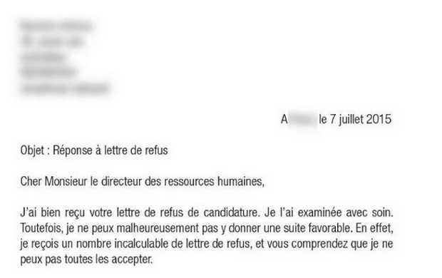 lettre refus candidature stage - Modele de lettre type