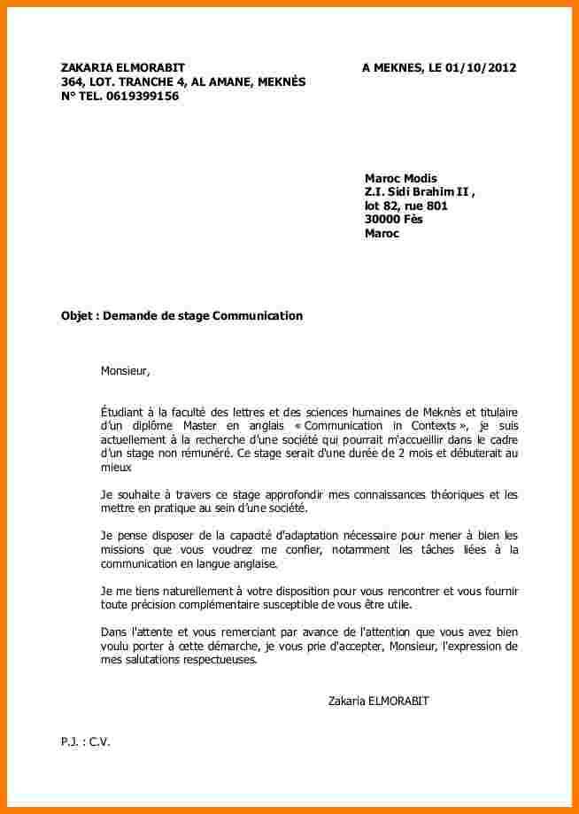 lettre refus candidature stage