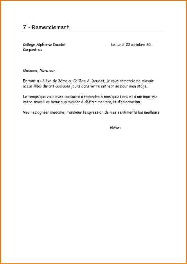 lettre remerciement pour un stage