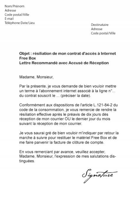 lettre resiliation abonnement internet sfr
