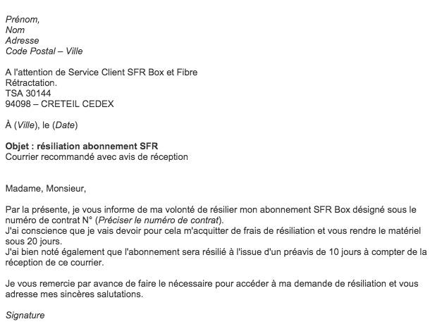 lettre resiliation abonnement mobile sfr