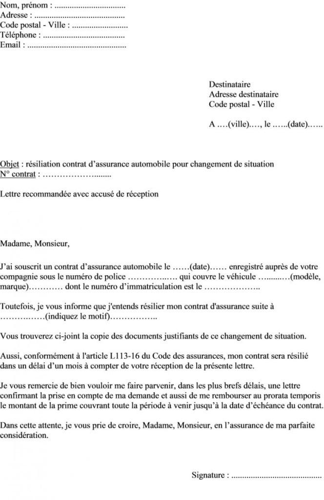 lettre resiliation abonnement telephonique - Modele de lettre type