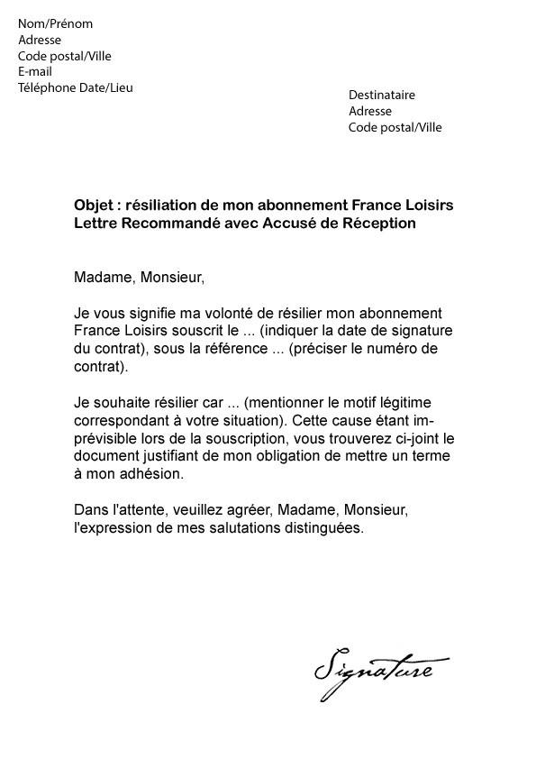 lettre resiliation adhesion