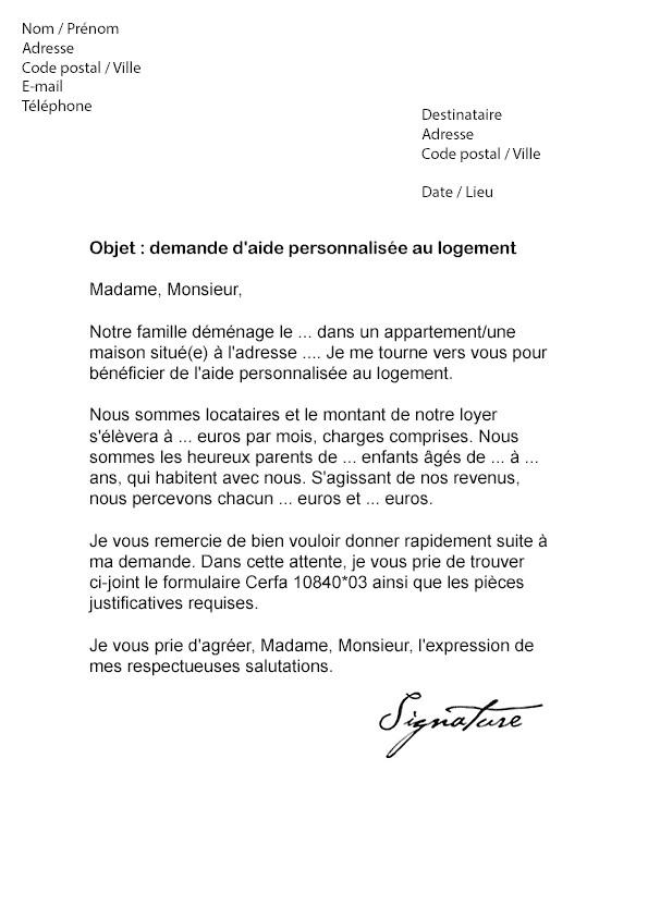 lettre resiliation apl