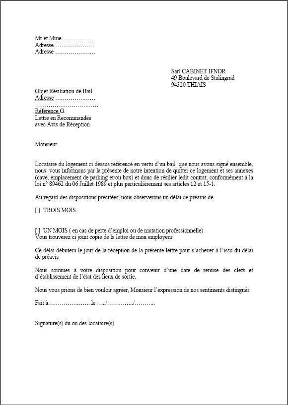 lettre resiliation appartement 1 mois