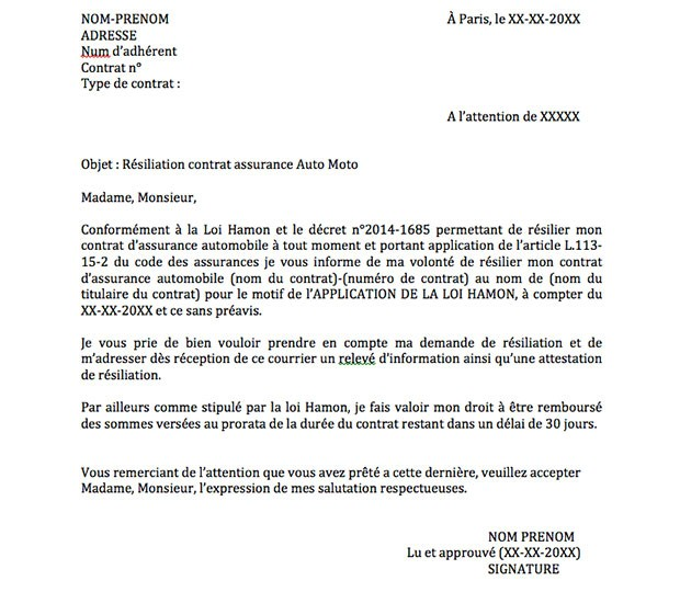 lettre resiliation assurance auto gratuit