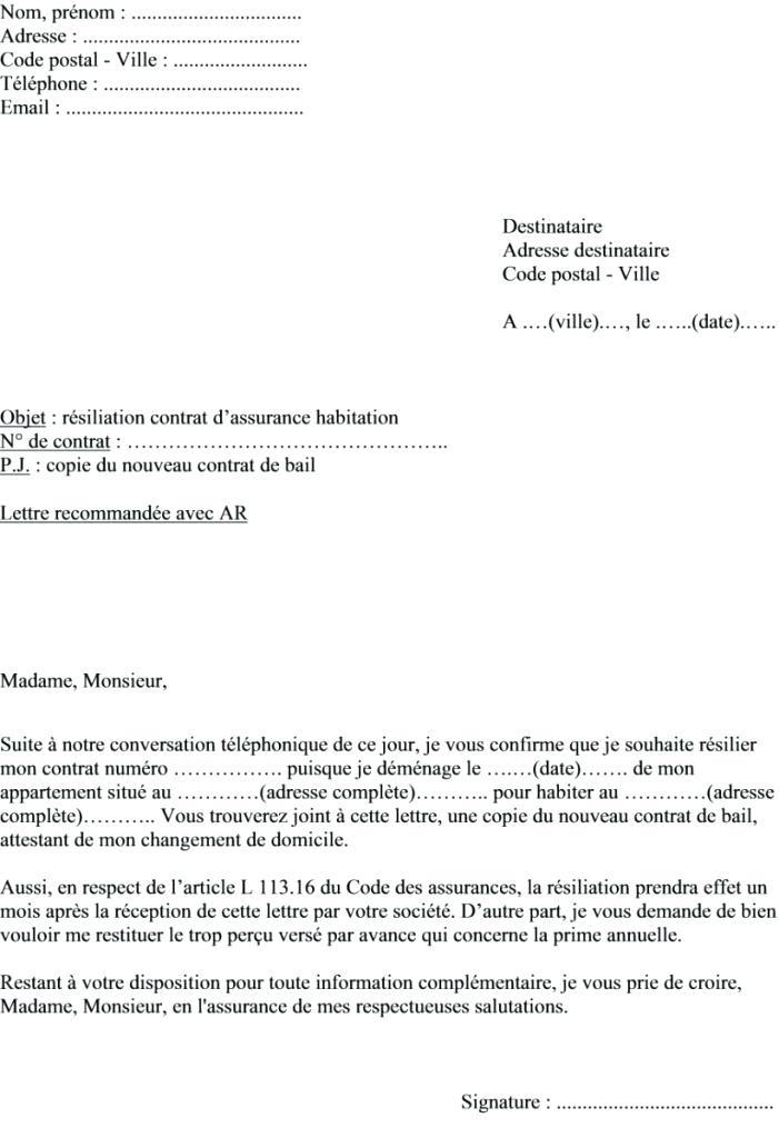 lettre resiliation assurance habitation suite deces