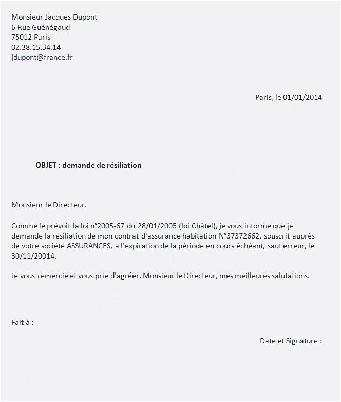 lettre resiliation assurance logement - Modele de lettre type