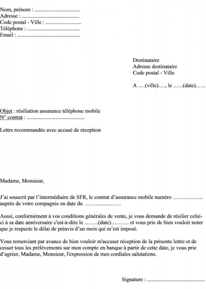 Lettre Resiliation Assurance Telephone Sfr Modele De Lettre Type