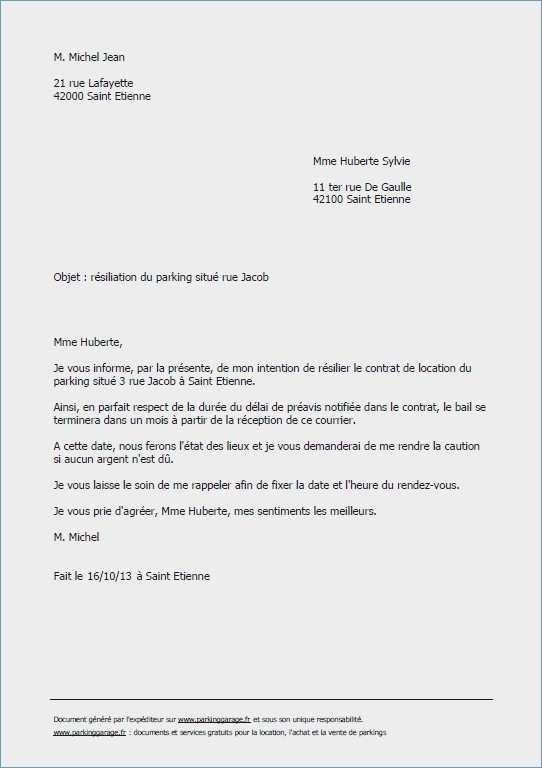 lettre resiliation bail 1 mois - Modele de lettre type
