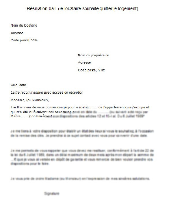 lettre resiliation bail location 1 mois