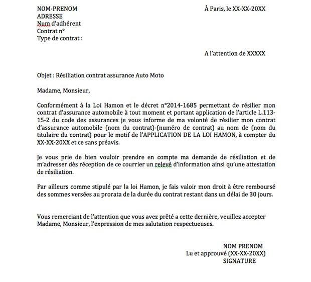 lettre resiliation contrat auto