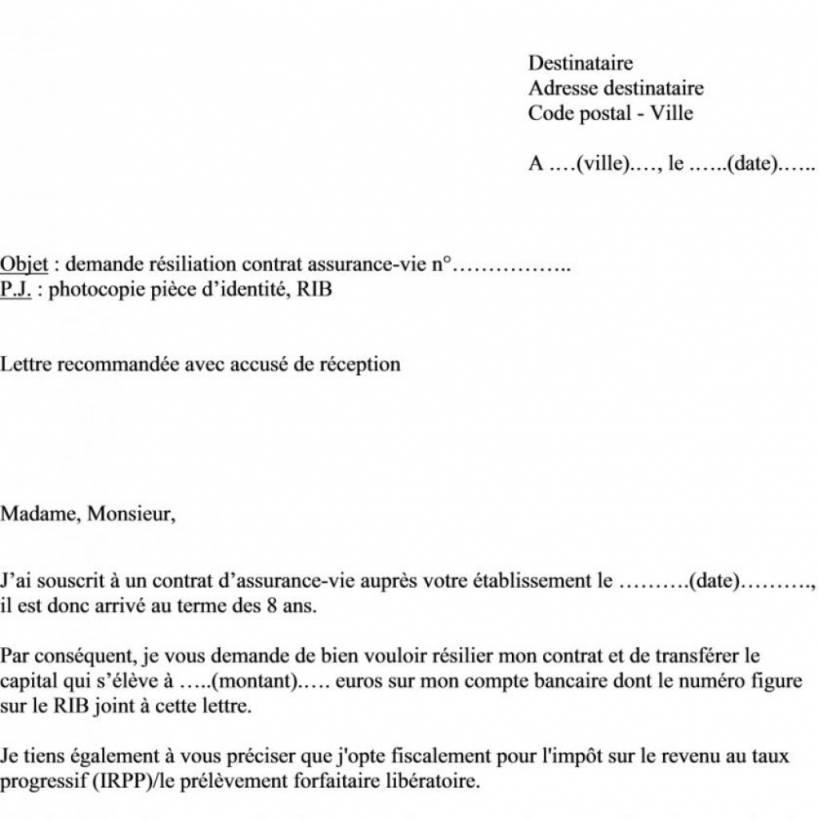 lettre resiliation contrat entretien chaudiere