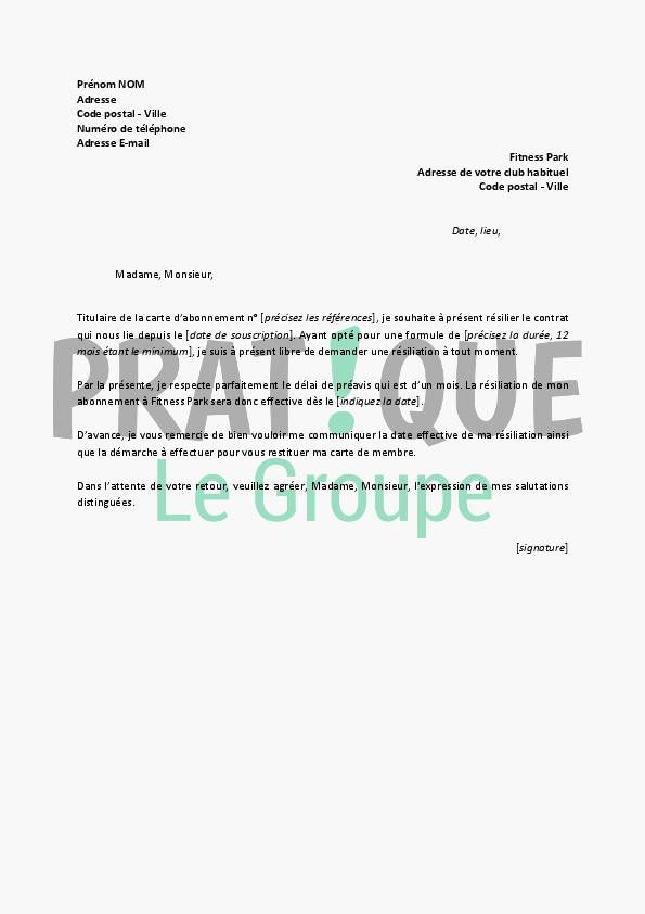 lettre resiliation d u0026 39 abonnement