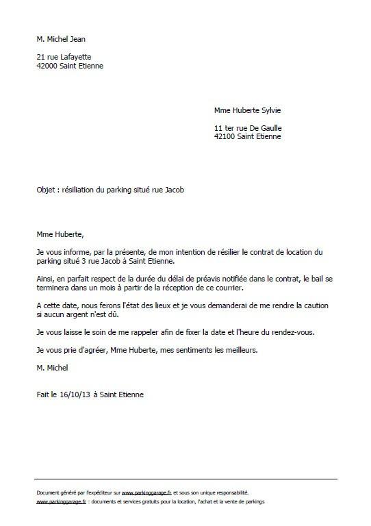 lettre resiliation de bail 3 mois - Modele de lettre type