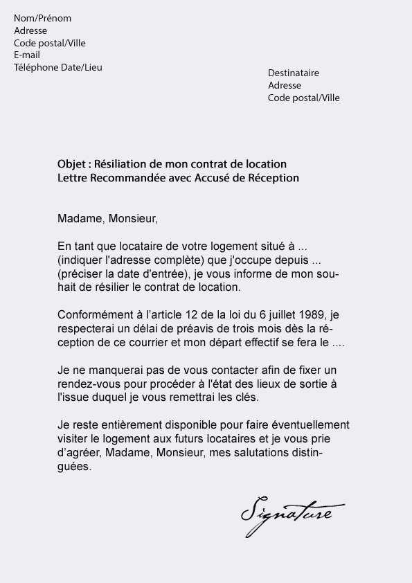 lettre resiliation de bail suisse