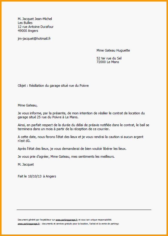 lettre resiliation garage gratuit
