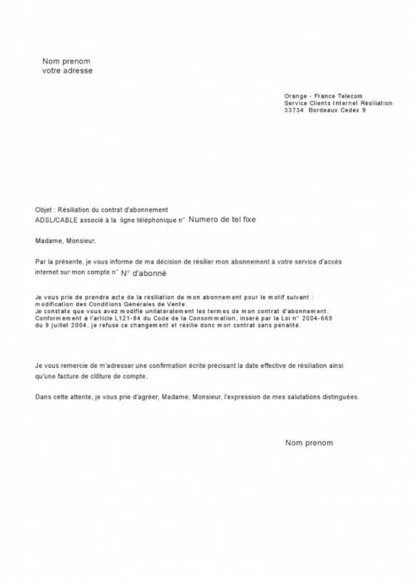 lettre resiliation ligne orange