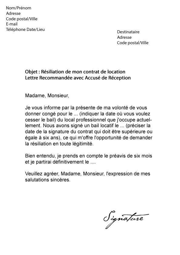 lettre resiliation location