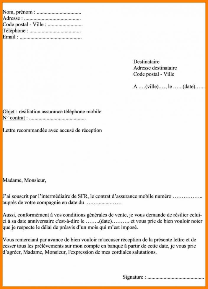 lettre resiliation mobile free