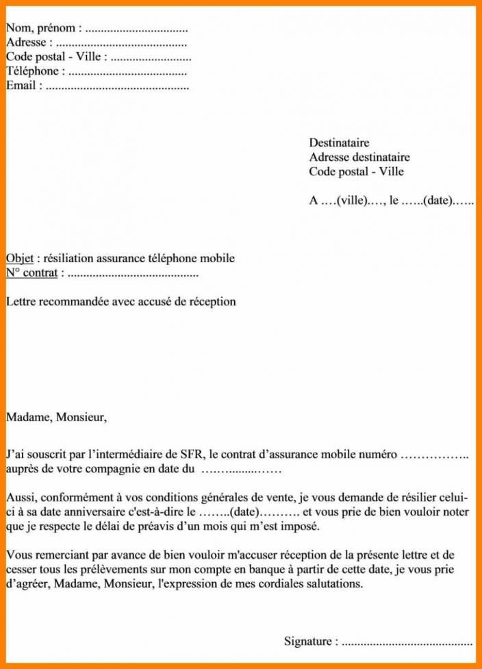 lettre resiliation mobile free - Modele de lettre type