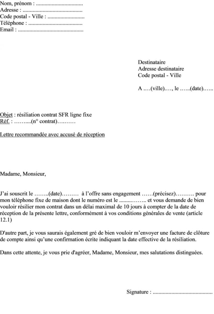 567c9850ffdded lettre resiliation neufbox - Modele de lettre type