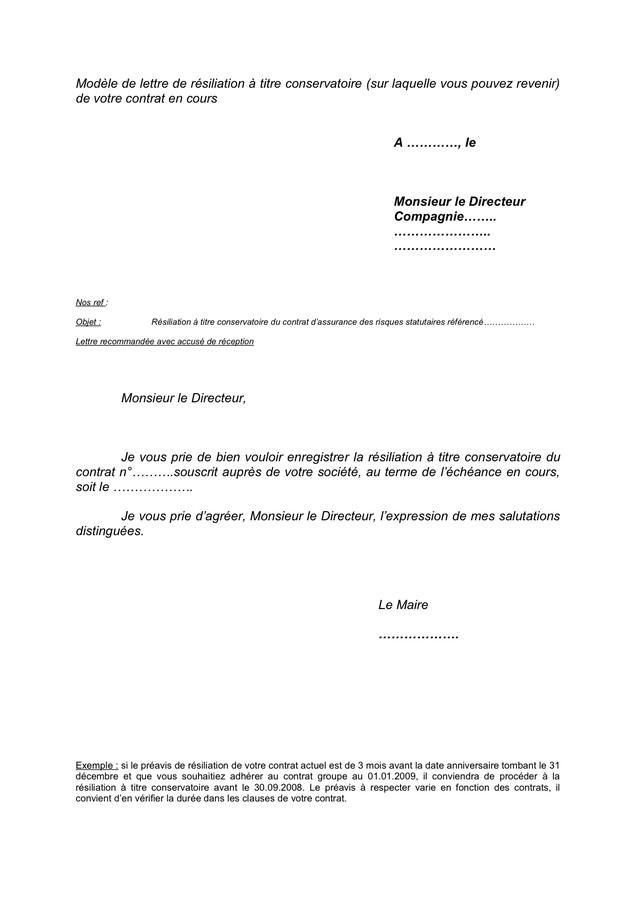 lettre resiliation operateur