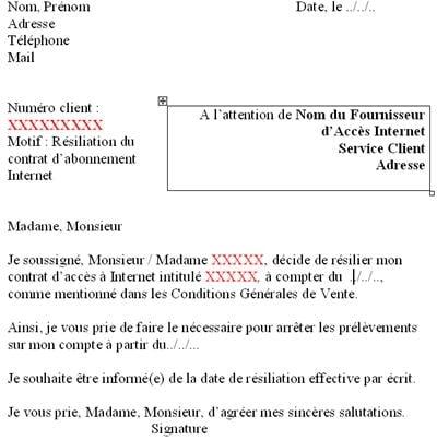 lettre resiliation sfr adsl gratuit - Modele de lettre type