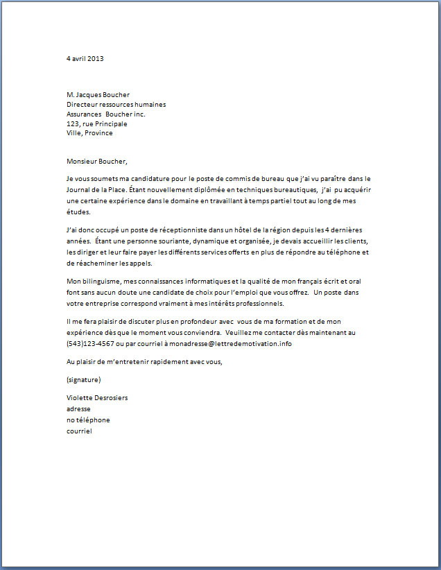 lettre spontanee gratuite secretaire