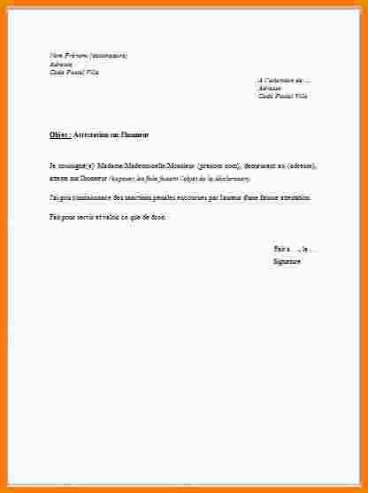 lettre sur honneur