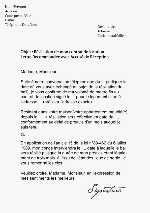 lettre type annulation contrat