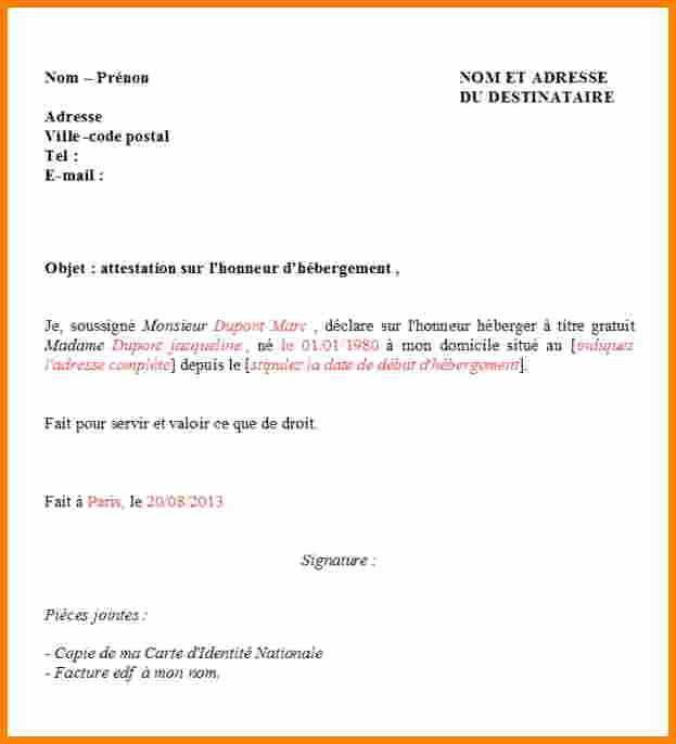 lettre type certificat d'hebergement