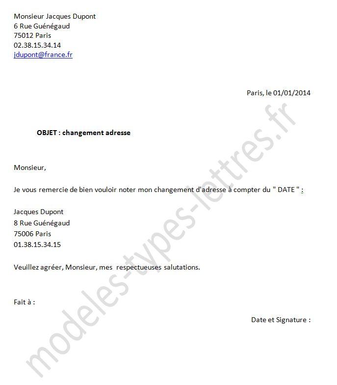 lettre type changement d'adresse banque