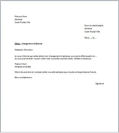 lettre type changement d'adresse