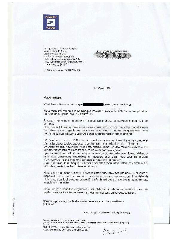 Lettre Cloture Compte La Banque Postale